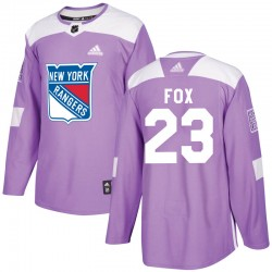 Adam Fox New York Rangers Youth Adidas Authentic Purple Fights Cancer Practice Jersey