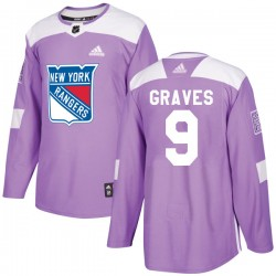 Adam Graves New York Rangers Youth Adidas Authentic Purple Fights Cancer Practice Jersey