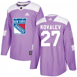 Alex Kovalev New York Rangers Youth Adidas Authentic Purple Fights Cancer Practice Jersey