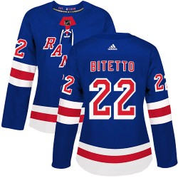 Anthony Bitetto New York Rangers Women's Adidas Authentic Royal Blue Home Jersey