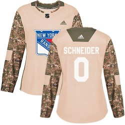 Braden Schneider New York Rangers Women's Adidas Authentic Camo Veterans Day Practice Jersey