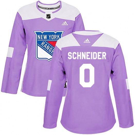 Braden Schneider New York Rangers Women's Adidas Authentic Purple Fights Cancer Practice Jersey