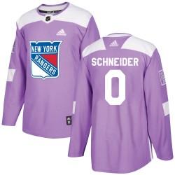 Braden Schneider New York Rangers Youth Adidas Authentic Purple Fights Cancer Practice Jersey