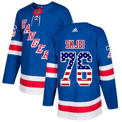Brady Skjei New York Rangers Youth Adidas Authentic Royal Blue USA Flag Fashion Jersey