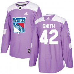 Brendan Smith New York Rangers Youth Adidas Authentic Purple Fights Cancer Practice Jersey