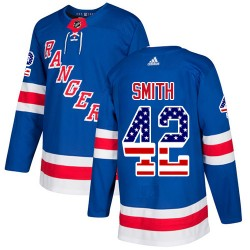 Brendan Smith New York Rangers Youth Adidas Authentic Royal Blue USA Flag Fashion Jersey