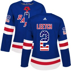 Brian Leetch New York Rangers Women's Adidas Authentic Royal Blue USA Flag Fashion Jersey