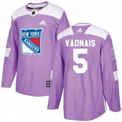 Carol Vadnais New York Rangers Men's Adidas Authentic Purple Fights Cancer Practice Jersey