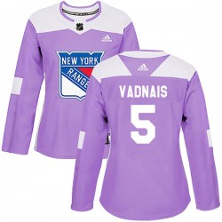 Carol Vadnais New York Rangers Women's Adidas Authentic Purple Fights Cancer Practice Jersey