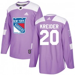 Chris Kreider New York Rangers Youth Adidas Authentic Purple Fights Cancer Practice Jersey