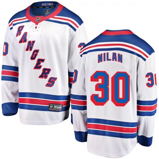 Chris Nilan New York Rangers Youth Fanatics Branded White Breakaway Away Jersey
