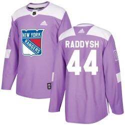 Darren Raddysh New York Rangers Men's Adidas Authentic Purple ized Fights Cancer Practice Jersey