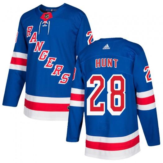 Dryden Hunt New York Rangers Men's Adidas Authentic Royal Blue Home Jersey