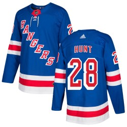 Dryden Hunt New York Rangers Youth Adidas Authentic Royal Blue Home Jersey