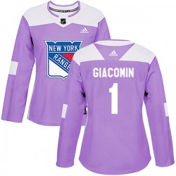 Eddie Giacomin New York Rangers Women's Adidas Authentic Purple Fights Cancer Practice Jersey