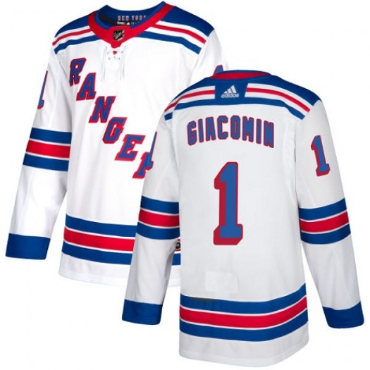 Eddie Giacomin New York Rangers Women's Adidas Authentic White Away Jersey