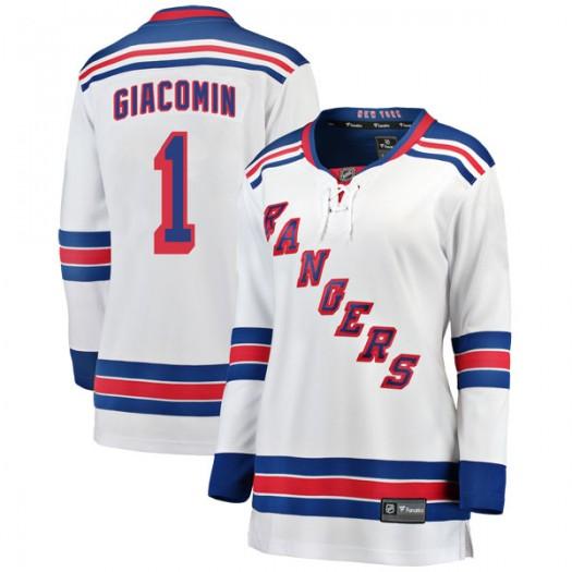 Eddie Giacomin New York Rangers Women's Fanatics Branded White Breakaway Away Jersey