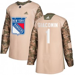 Eddie Giacomin New York Rangers Youth Adidas Authentic Camo Veterans Day Practice Jersey