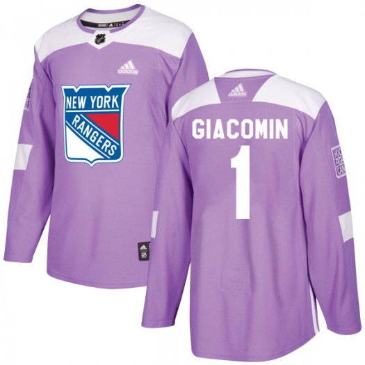Eddie Giacomin New York Rangers Youth Adidas Authentic Purple Fights Cancer Practice Jersey