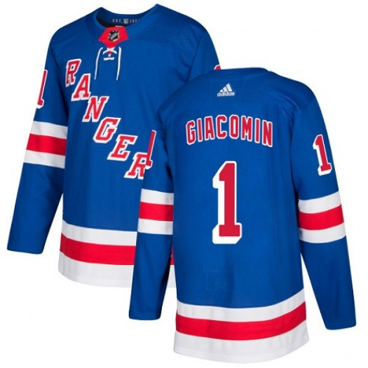 Eddie Giacomin New York Rangers Youth Adidas Authentic Royal Blue Home Jersey