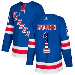Eddie Giacomin New York Rangers Youth Adidas Authentic Royal Blue USA Flag Fashion Jersey