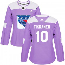 Esa Tikkanen New York Rangers Women's Adidas Authentic Purple Fights Cancer Practice Jersey