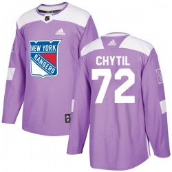 Filip Chytil New York Rangers Men's Adidas Authentic Purple Fights Cancer Practice Jersey