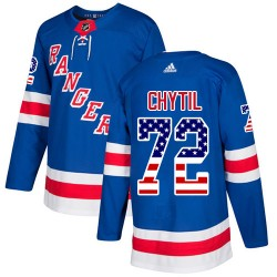 Filip Chytil New York Rangers Men's Adidas Authentic Royal Blue USA Flag Fashion Jersey