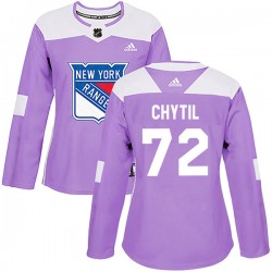 Filip Chytil New York Rangers Women's Adidas Authentic Purple Fights Cancer Practice Jersey