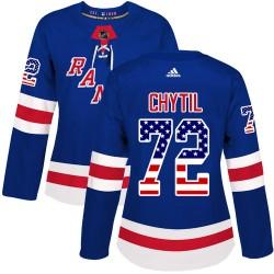 Filip Chytil New York Rangers Women's Adidas Authentic Royal Blue USA Flag Fashion Jersey
