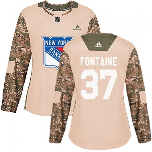 Gabriel Fontaine New York Rangers Women's Adidas Authentic Camo Veterans Day Practice Jersey