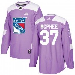 George Mcphee New York Rangers Youth Adidas Authentic Purple Fights Cancer Practice Jersey