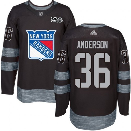 Glenn Anderson New York Rangers Men's Adidas Authentic Black 1917-2017 100th Anniversary Jersey