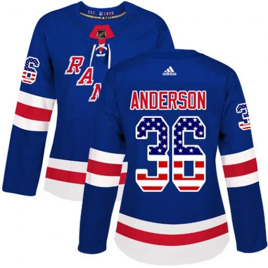 Glenn Anderson New York Rangers Women's Adidas Authentic Royal Blue USA Flag Fashion Jersey
