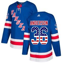 Glenn Anderson New York Rangers Youth Adidas Authentic Royal Blue USA Flag Fashion Jersey