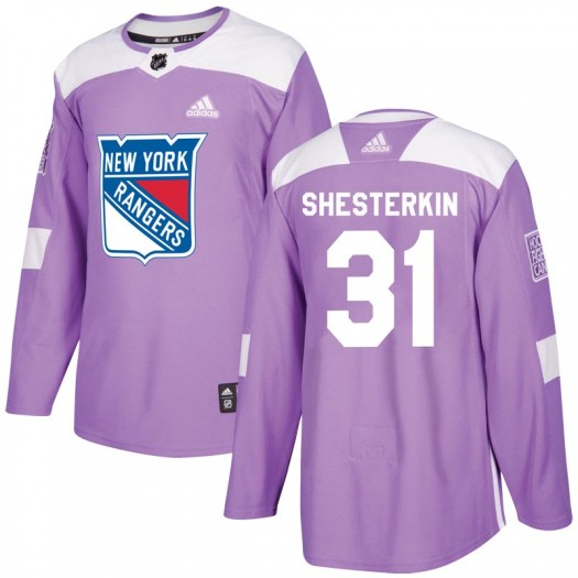 Igor Shesterkin New York Rangers Men's Adidas Authentic Purple Fights Cancer Practice Jersey
