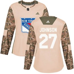 Jack Johnson New York Rangers Women's Adidas Authentic Camo Veterans Day Practice Jersey