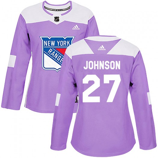Jack Johnson New York Rangers Women's Adidas Authentic Purple Fights Cancer Practice Jersey