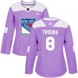 Jacob Trouba New York Rangers Women's Adidas Authentic Purple Fights Cancer Practice Jersey
