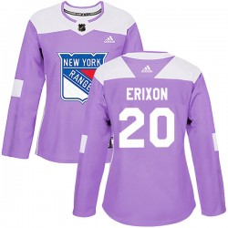Jan Erixon New York Rangers Women's Adidas Authentic Purple Fights Cancer Practice Jersey