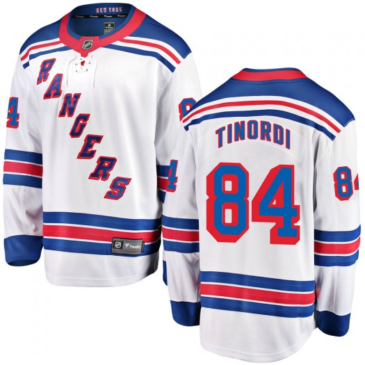 Jarred Tinordi New York Rangers Youth Fanatics Branded White Breakaway Away Jersey