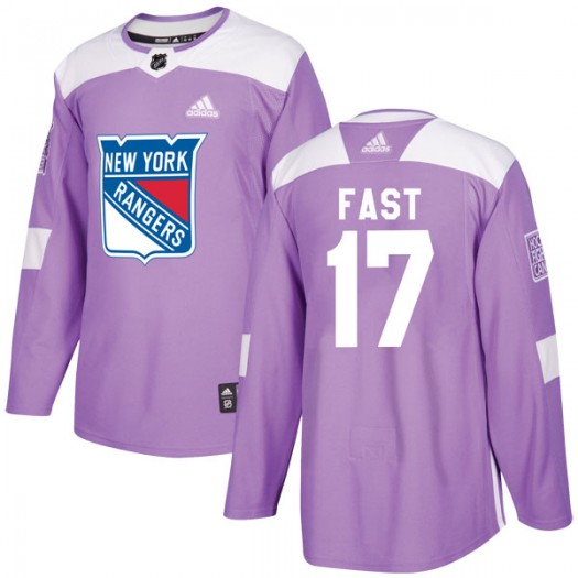 Jesper Fast New York Rangers Men's Adidas Authentic Purple Fights Cancer Practice Jersey