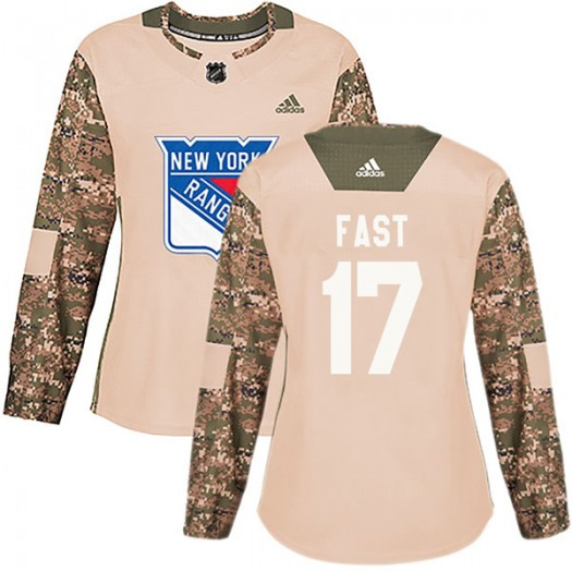 Jesper Fast New York Rangers Women's Adidas Authentic Camo Veterans Day Practice Jersey