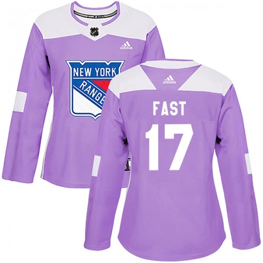 Jesper Fast New York Rangers Women's Adidas Authentic Purple Fights Cancer Practice Jersey