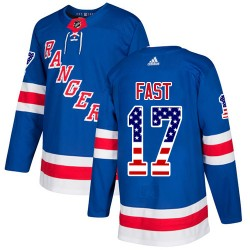 Jesper Fast New York Rangers Youth Adidas Authentic Royal Blue USA Flag Fashion Jersey