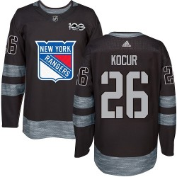 Joe Kocur New York Rangers Men's Adidas Authentic Black 1917-2017 100th Anniversary Jersey