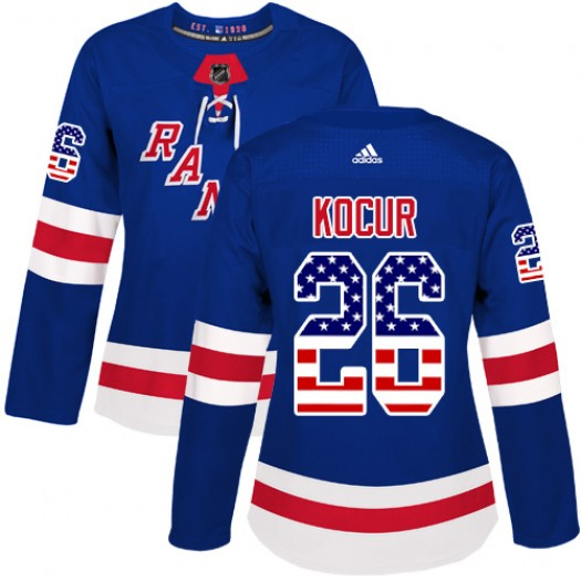 Joe Kocur New York Rangers Women's Adidas Authentic Royal Blue USA Flag Fashion Jersey