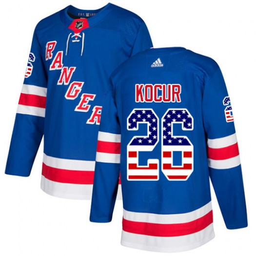 Joe Kocur New York Rangers Youth Adidas Authentic Royal Blue USA Flag Fashion Jersey