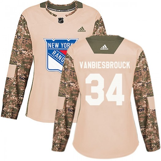 John Vanbiesbrouck New York Rangers Women's Adidas Authentic Camo Veterans Day Practice Jersey
