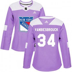 John Vanbiesbrouck New York Rangers Women's Adidas Authentic Purple Fights Cancer Practice Jersey